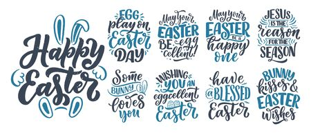 Set with calligraphy lettering slogans about Easter for flyer and print design. Vector illustration. Templates for banners, posters, greeting postcards.