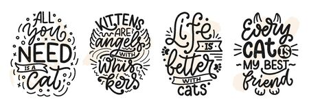 Set with funny lettering quotes about cats for print in hand drawn style. Creative typography slogans design for posters. Cool vector illustration. Ilustrace