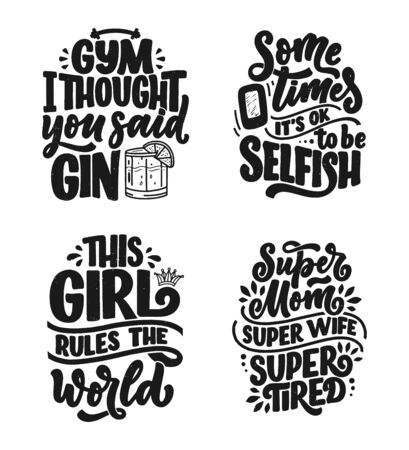 Set with funny hand drawn lettering compositions. Cool phrases for print and poster design. Inspirational feminism slogans. Girl power quotes. Greeting card template. Vector illustration