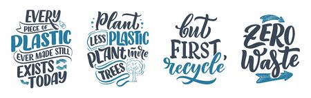Set with lettering slogans about waste recycling. Nature concept based on reducing waste and using or reusable products. Motivational quotes for choosing eco friendly lifestyle