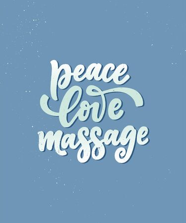 Fun slogan about massage. Lettering typography quote. Hand drawn inspirational, motivational poster. Cosmetology print, badge,   tag. Vector Çizim
