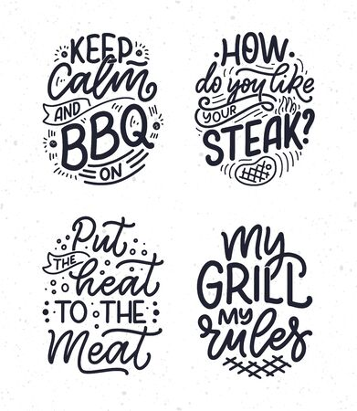 Set with Bbq fun slogans, great design for any purposes. Lettering for family dinner design. Funny print, poster and banner with phrase about barbeque. Vector illustration