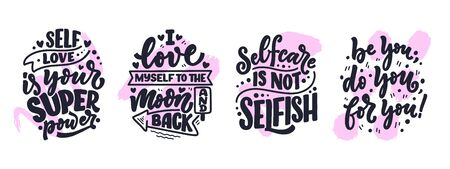 Set with selfcare lettering quotes for blog or sale. Time to something nice. Beauty, body care, premium cosmetics, delicious, ego. Modern calligraphy. Vector illustration