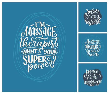 Set with fun slogans about massage. Lettering typography quotes. Hand drawn inspirational, motivational poster Vettoriali