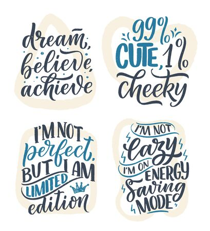 Set with funny hand drawn lettering compositions. Cool phrases for print and poster design. Inspirational feminism slogans. Girl power quotes. Greeting card template. Vector illustration Illustration