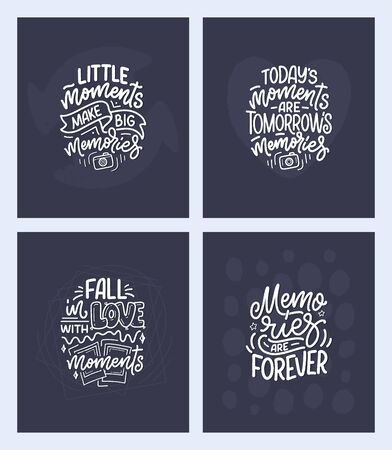 Set with travel life style inspiration quotes about good memories, hand drawn lettering posters. Motivational typography for prints. Calligraphy graphic design elements. Label vector illustration
