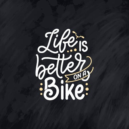 Lettering slogan about bicycle for poster, print and t shirt design. Save nature quote. Vector vintage illustration Vectores