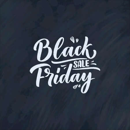 Black friday lettering in modern calligraphy style. Slogan for promotion template and sale banner. Vector illustration.
