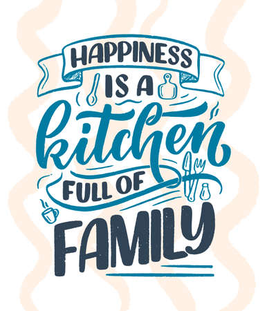 Hand drawn lettering quote in modern calligraphy style about family. Slogan for print and poster design. Vector illustration Illustration