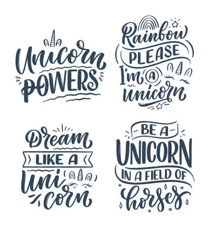 Set with funny hand drawn lettering quotes about unicorn. Cool phrases for print and poster design. Inspirational kids slogans. Greeting card template. Vector Illustration