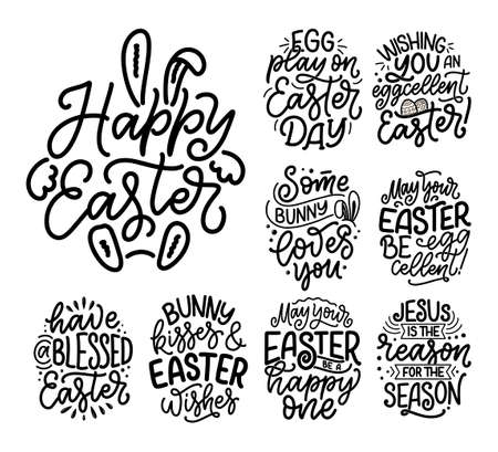 Set with calligraphy lettering slogans about Easter for flyer and print design. Templates for banners, posters, greeting postcards. Vector Illustration