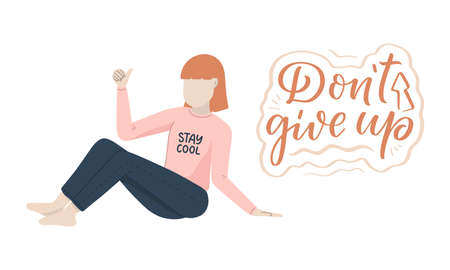 Girl character in cartoon flat style with positive lettering slogan. Minimalism female person design. Friendly concept with calligraphy phrase. Happy woman. Vector