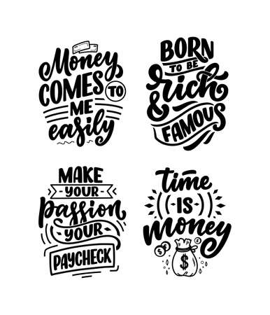 Set with hand drawn lettering quotes in modern calligraphy style about money. Slogans for print and poster design. Vector