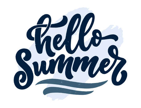 Hand drawn lettering composition about Summer. Funny season slogan. Isolated calligraphy quote for travel agency, beach party. Great design for banner, postcard, print or poster. Vector