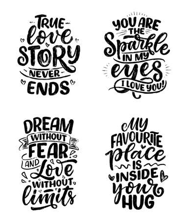 Set with slogans about love in calligraphy style. Vector abstract lettering compositions. Trendy graphic design for print. Motivation posters. Quotes for Valentines Day.