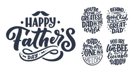 Set with funny hand drawn lettering quotes for Fathers day greeting card. Typography posters. Cool phrases for t shirt print. Inspirational slogans. Vector