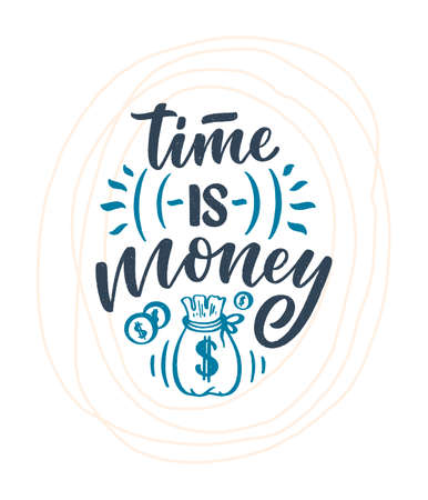 Hand drawn lettering quote in modern calligraphy style about money. Slogan for print and poster design. Vector Иллюстрация
