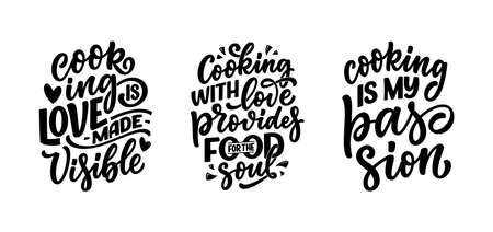Set with hand drawn lettering quotes in modern calligraphy style about cooking. Inspiration slogans for print and poster design. Vector
