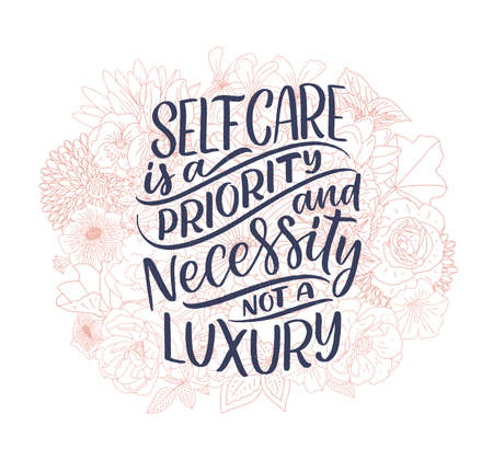 Love yourself lettering slogan. Funny quote for blog, poster and print design. Modern calligraphy text about self care.