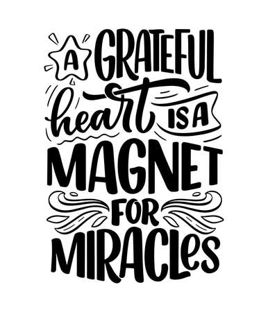 Hand drawn lettering quote about Gratitude. Cool phrase for print and poster design. Inspirational slogan. Vector