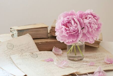 manuscripts: Ancient manuscripts, books and flowers