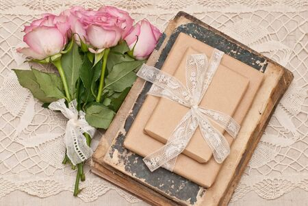 antique books: Gifts, roses and antique books