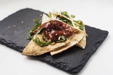 pita: Pita bread with salad