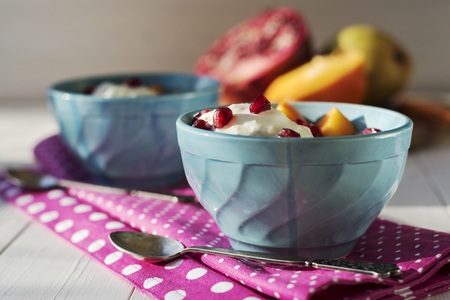 glass cup: Ice cream with fruits Stock Photo