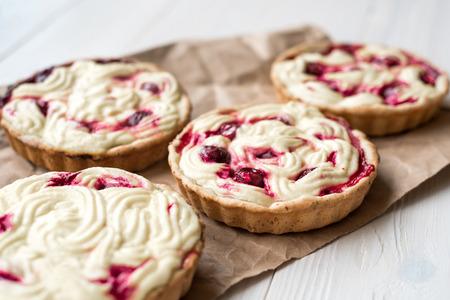 tarts: Cherry cream cheese tarts Stock Photo