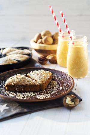 pumpkin pie: Pumpkin pie with nuts and pumpkin milkshake