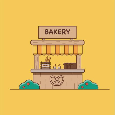 Vector illustration which depicts a bakery on an orange background Ilustração