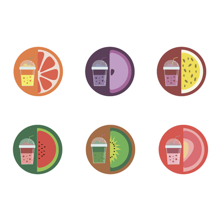 In the illustration, six flavors of lemonade. Taste of orange, grapes, passion fruit, watermelon, kiwi and cherries. Bright glasses of different colors. Fruits and berries in the cut.