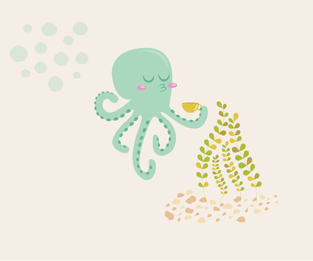 On the illustration is a cartoon octopus. Octopus drinking tea. It is turquoise in color. Above him are bubbles. Near seaweed at the bottom of the sea. The octopus is happy in his good mood.