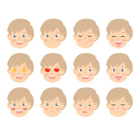 Set di emozioni facciali del ragazzo adorabile. Fronte del ragazzo con espressioni diverse. Avatar di ritratto di scolaro. Varietà di emozioni ragazzo adolescente. vettore isolato Vettoriali