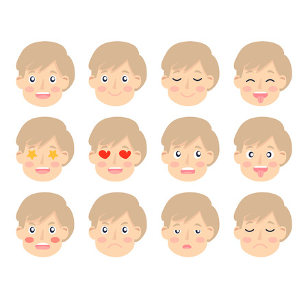 Set of Adorable Boy facial emotions. Boy face with different expressions. Schoolboy portrait avatars. Variety of emotions teen guy. Isolated vector Ilustración de vector
