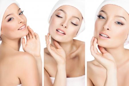 three photos in one, the girls take care of the skin  Zdjęcie Seryjne