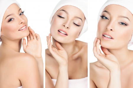 beautiful face: three photos in one, the girls take care of the skin  Stock Photo
