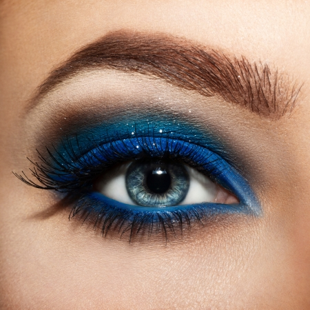 eye lashes: close up eyes with bright makeup.
