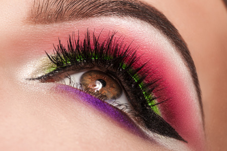 beautiful eyes: magic eyes look beautiful with bright makeup, macro