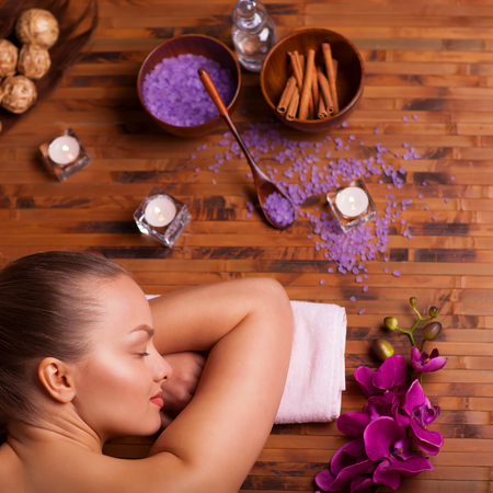 spa therapy: woman taking spa treatments and relaxation therapy Stock Photo