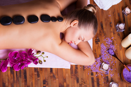 spa: woman taking spa treatments and relaxation therapy Stock Photo