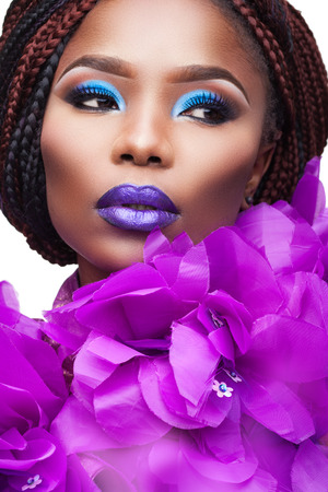dark skinned: dark skinned young woman with bright makeup Stock Photo