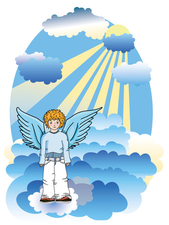 blue clouds: angel in the blue clouds  Illustration