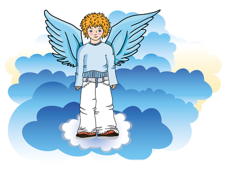blue clouds: angel in the blue clouds vector Illustration
