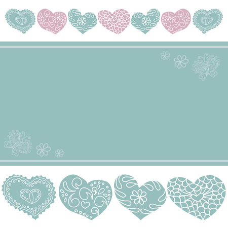 white background with pastel hearts, butterflies and a place for text, vector Vector