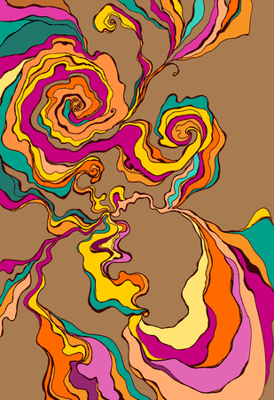 swirl: Flow of color inc, color swirl, wave, hand-drawn pattern. Illustration