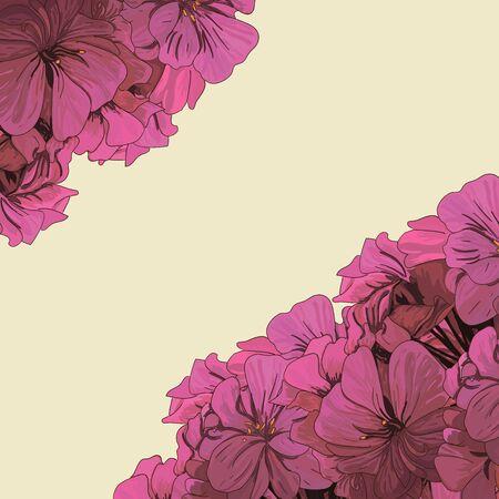 geranium color: Decorative element corners. Flower invitation card. Template flower design for card. Vector flower ornaments, summer, maritime theme for design