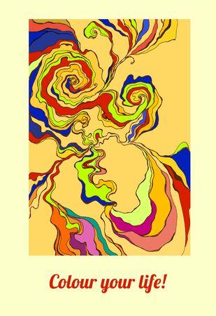 流れ株式会社色渦巻き、波、手描きのパターンの色