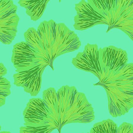cian: Ginkgo biloba leaf tablecloth seamless pattern. Silhouette of green ginkgo leaves with cian veinlets. Isolated vector illustration. Nature design