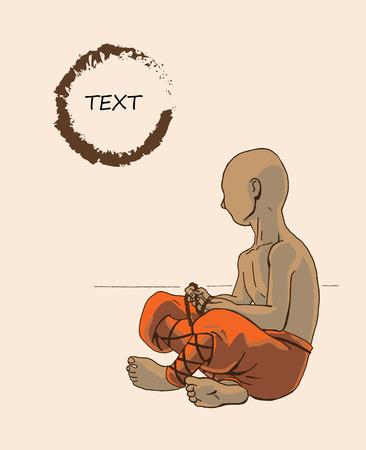 Monk, little boy in orange clothes. Vector illustration. Illustration